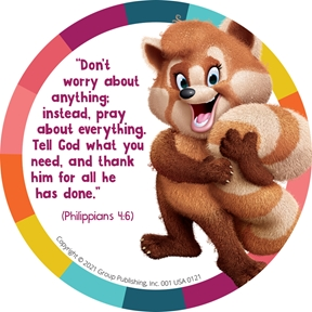 Simply Loved Bible Memory Buddy Stickers, Quarter 4—Amanda the Red Panda