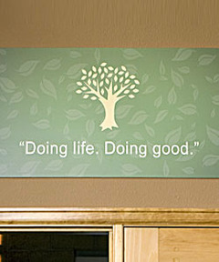 Lifetree Cafe Tagline Wall Sign