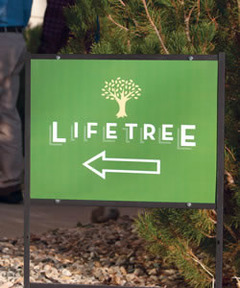 Lifetree Cafe Metal Direction Sign (without stand)